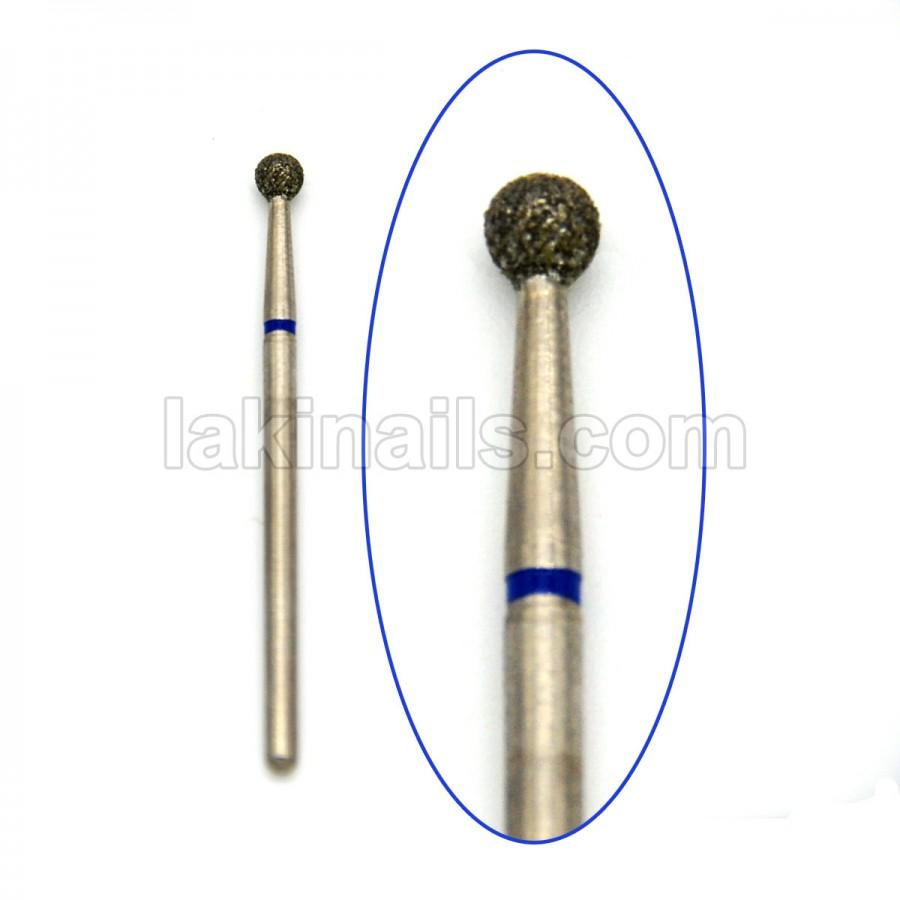 Алмазна насадка (бор) для фрезера, сфера 001 синя 4,0 мм