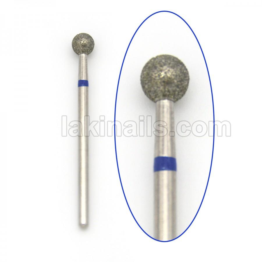 Алмазна насадка (бор) для фрезера, сфера 001 синя 5,0 мм
