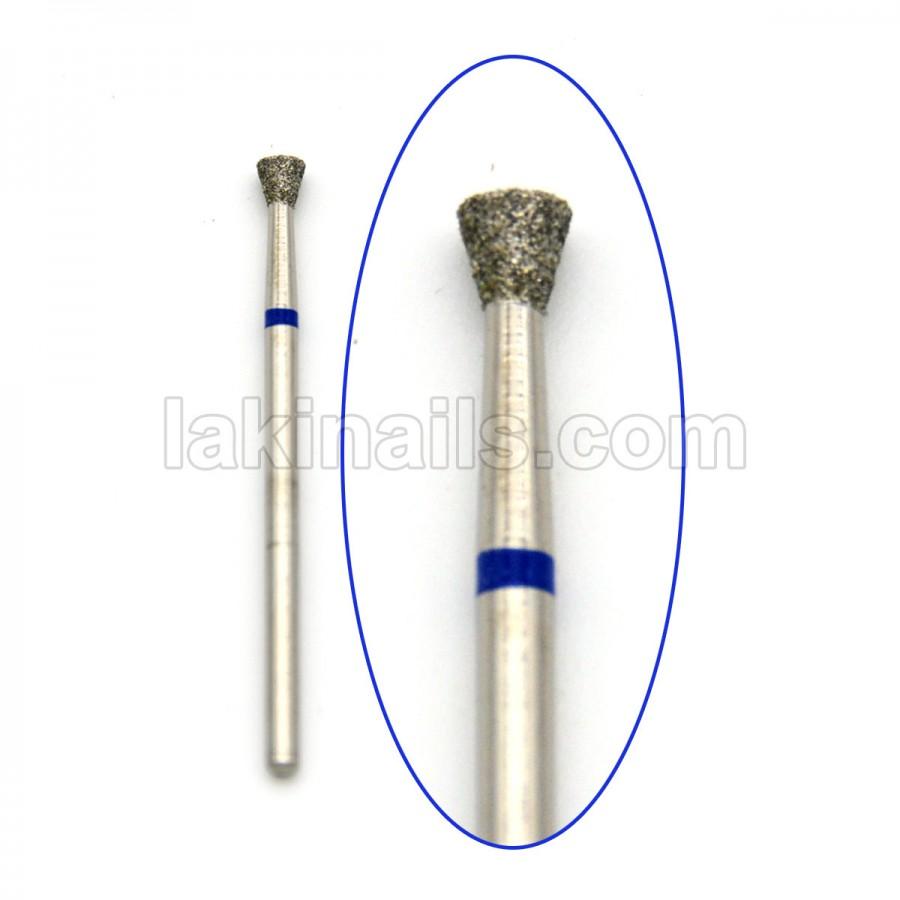Алмазна насадка (бор) для фрезера, зворотний конус 010 синя 3,5 мм