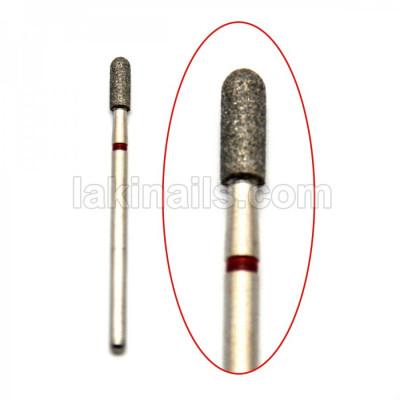 Алмазна насадка (бор) для фрезера циліндр з півсферою, червоний 2,5 мм