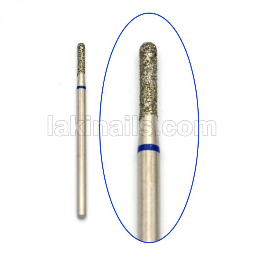 Алмазная насадка (бор) для фрезера, цилиндрическая с полусферой на конце, 141 синий 1,8 мм