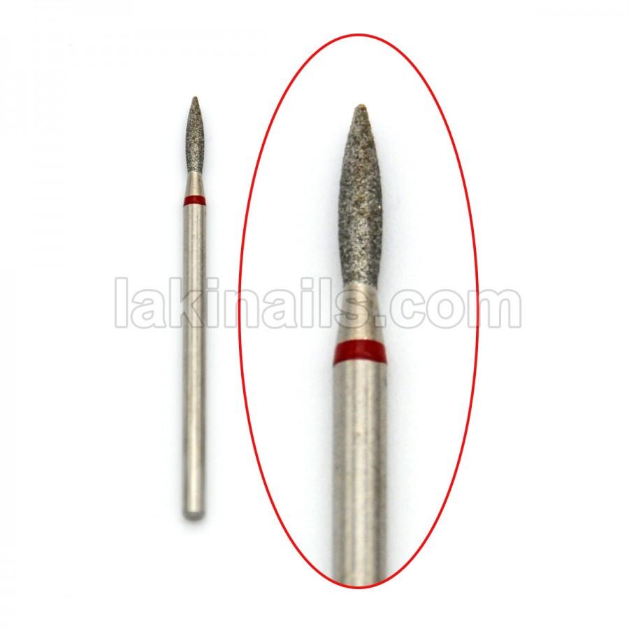 Алмазная насадка (бор) для фрезера, пламевидная 243 красный 1,8 мм
