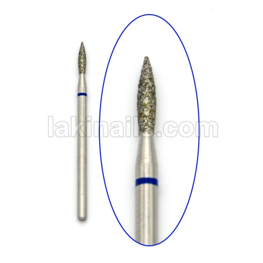 Алмазна насадка (бор) для фрезера, пламевідная 243 синій 2,1 мм
