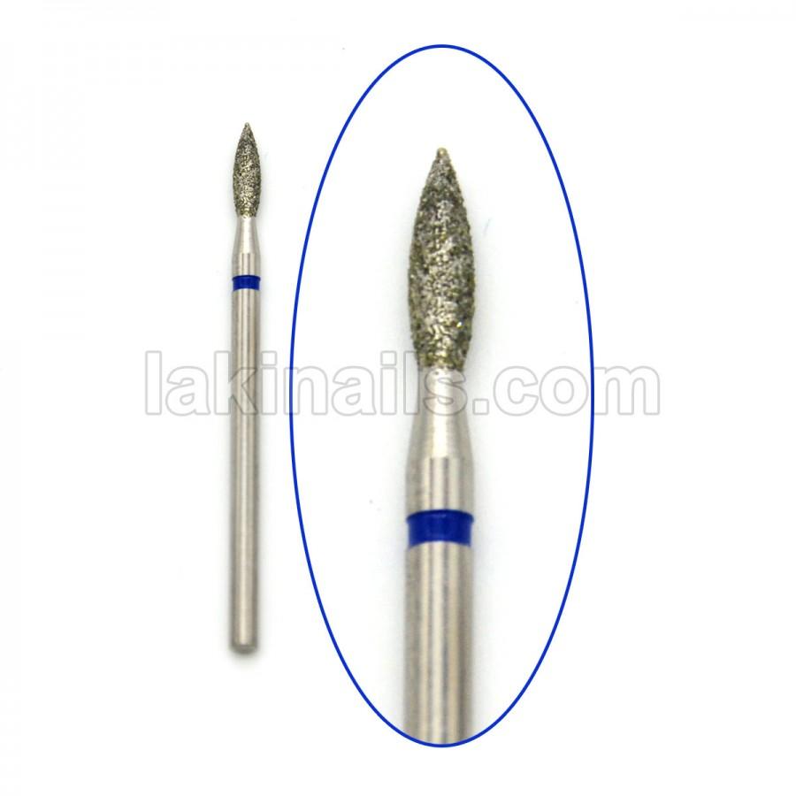 Алмазна насадка (бор) для фрезера, пламевідная 243 синій 2,3 мм