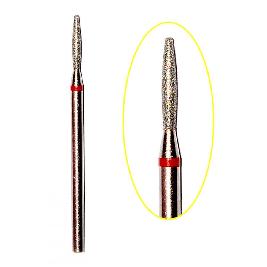 Алмазна насадка (бор) для фрезера, полум'я стандарт з тупим кінцем 244 червоний 1,8 мм