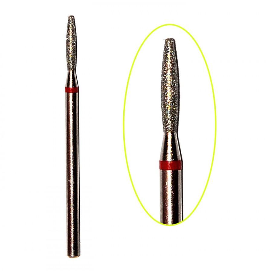 Алмазна насадка (бор) для фрезера, полум'я стандарт з тупим кінцем 244 червоний 2,1 мм