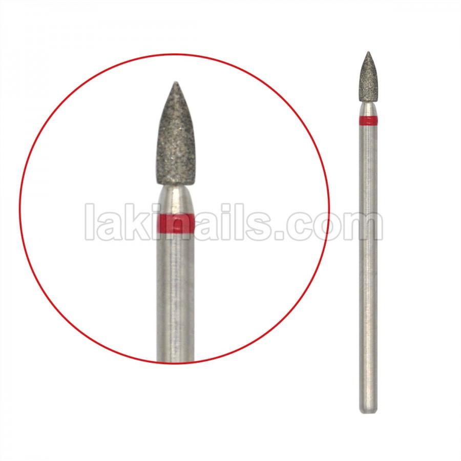 Алмазная насадка (бор) для фрезера, пулевидная с острым концом, красный поясок 91/1-к