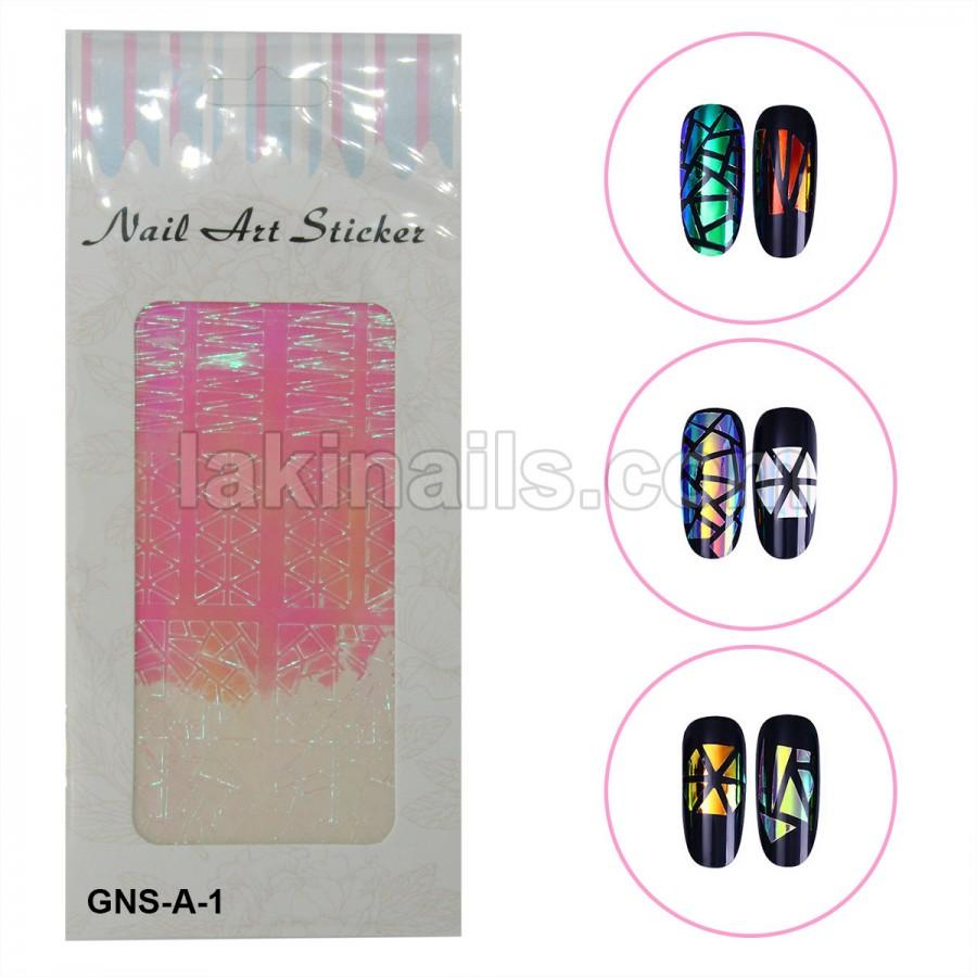 Голографические стикеры для ногтей, GNS-A-1