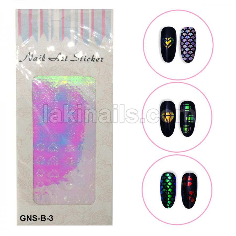 Голографические стикеры для ногтей, GNS-В-3