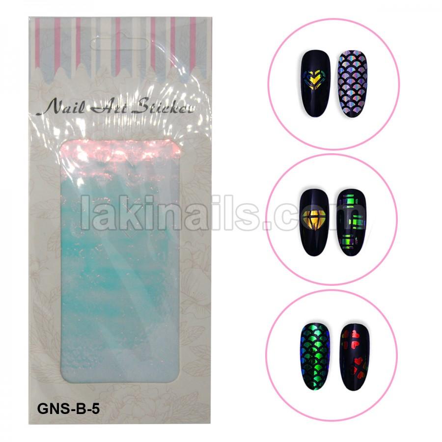 Голографические стикеры для ногтей, GNS-В-5