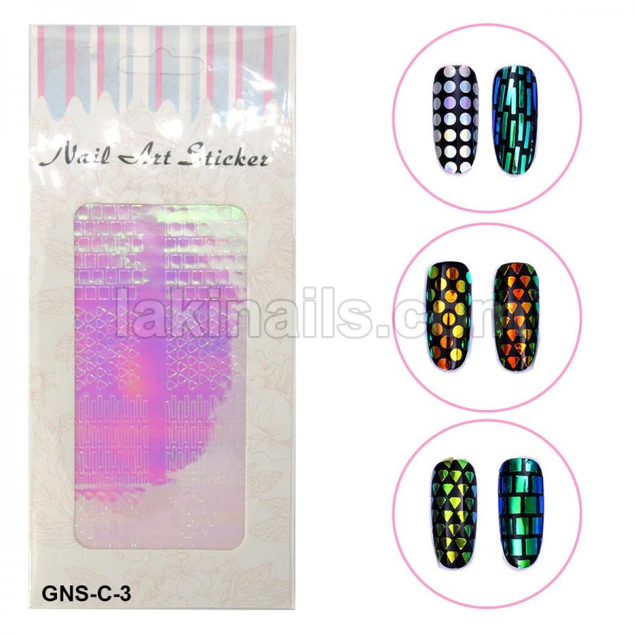Голографічні стікери для нігтів, GNS-С-3