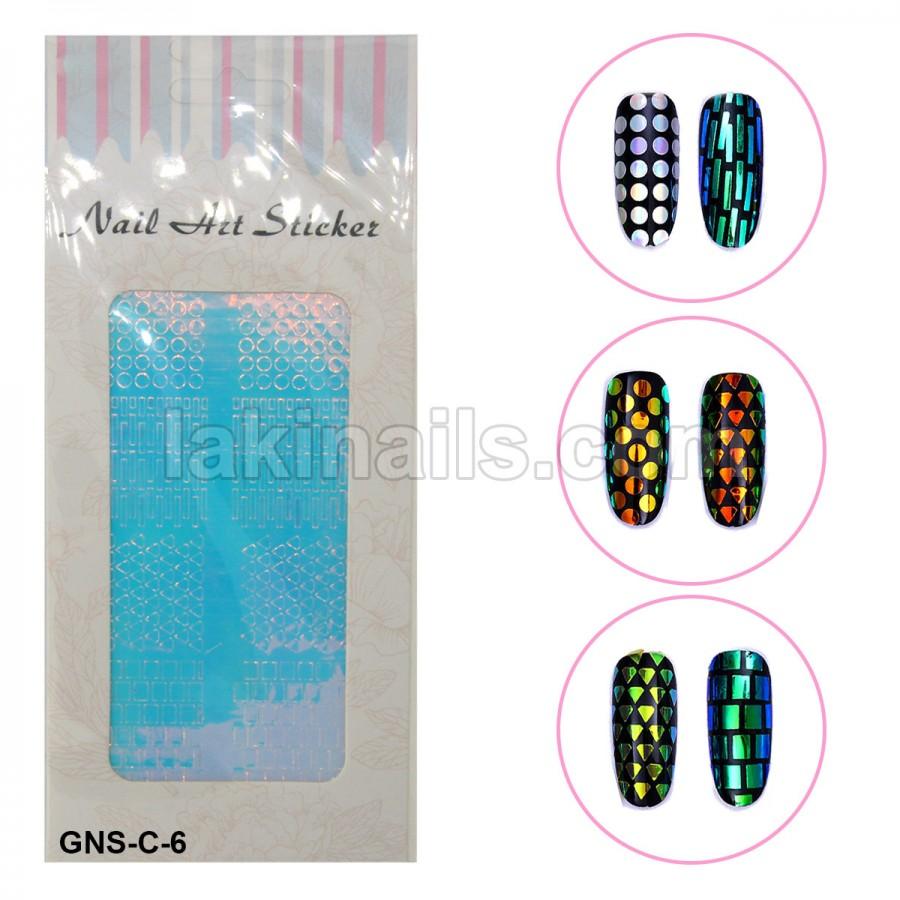 Голографические стикеры для ногтей, GNS-С-6