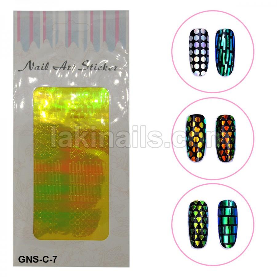 Голографічні стікери для нігтів, GNS-С-7