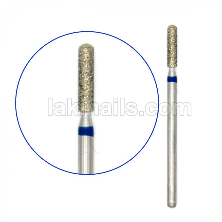 Алмазная насадка (бор) для фрезера, цилиндрическая с полусферой на торце, синий поясок 67-с