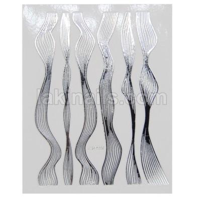 Силіконові гнучкі стрічки смужки хвилі 3D для дизайну нігтів, срібло Z-D2987