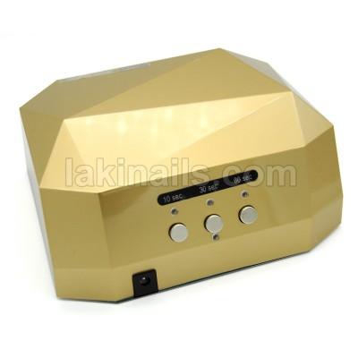Сенсорная гибридная лампа для ногтей  LED+CCFL 36 W, Diamond, золото
