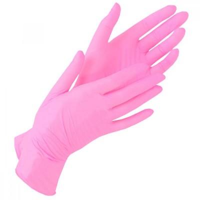 Нитриловые перчатки размер S розовые, пара
