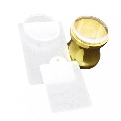 Штамп золотой, с двумя пластиковыми пластинами для стемпинга
