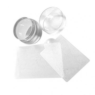 Штамп прозрачный, с двумя пластиковыми пластинами для стемпинга