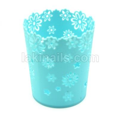 Подставка круглая пластиковая для кистей, инструментов, голубая