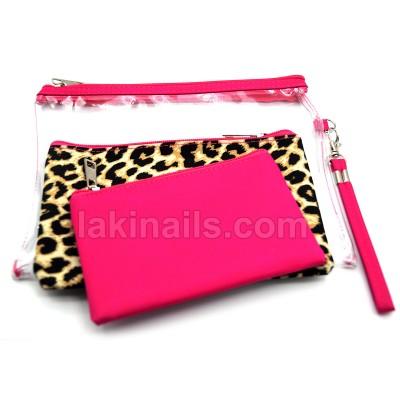 Косметичка 3 в 1, розовый и принт леопард