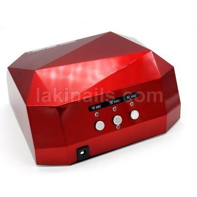 Сенсорная гибридная лампа для ногтей  LED+CCFL 36 W, Diamond, красная