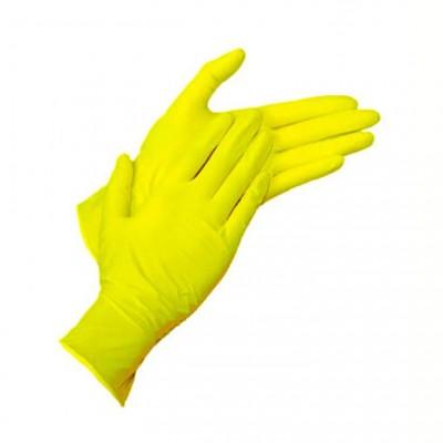 Нитриловые перчатки размер S, желтые, пара