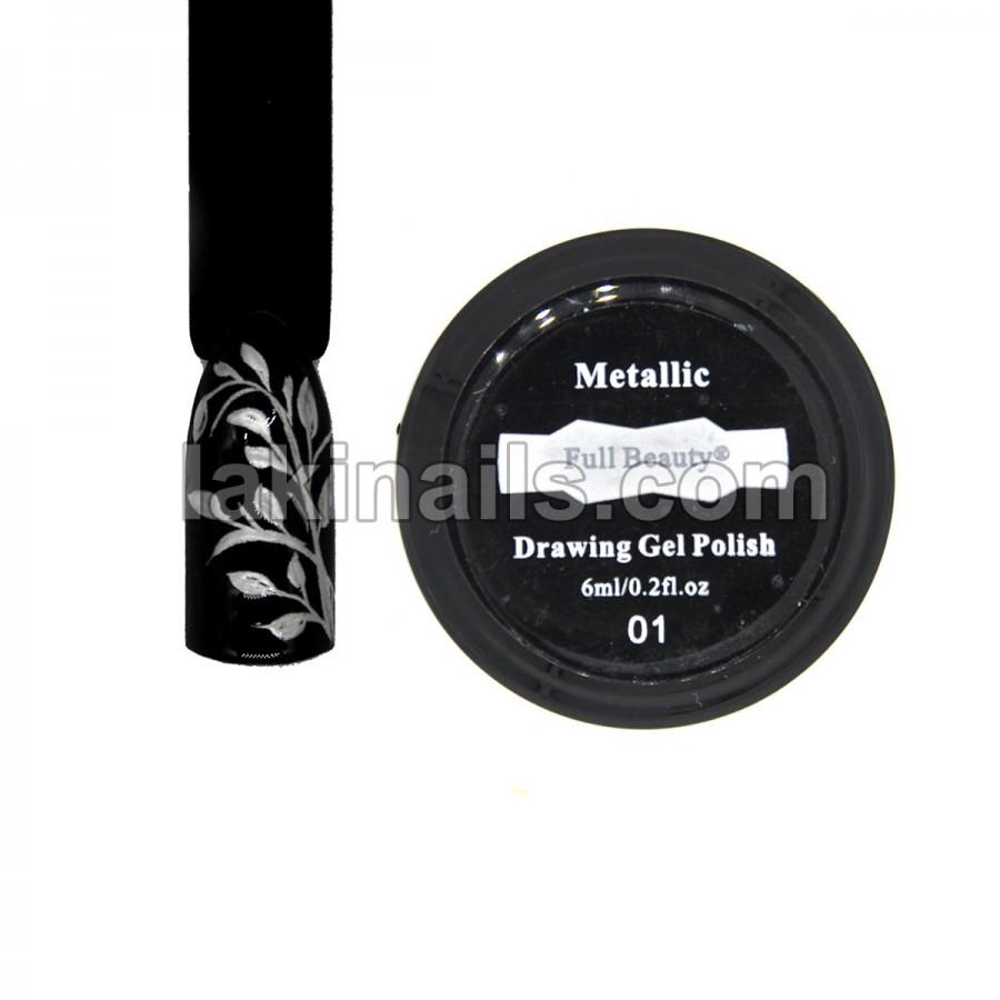 Рідкий метал Drawing Gel Polish, срібло, 6 мл