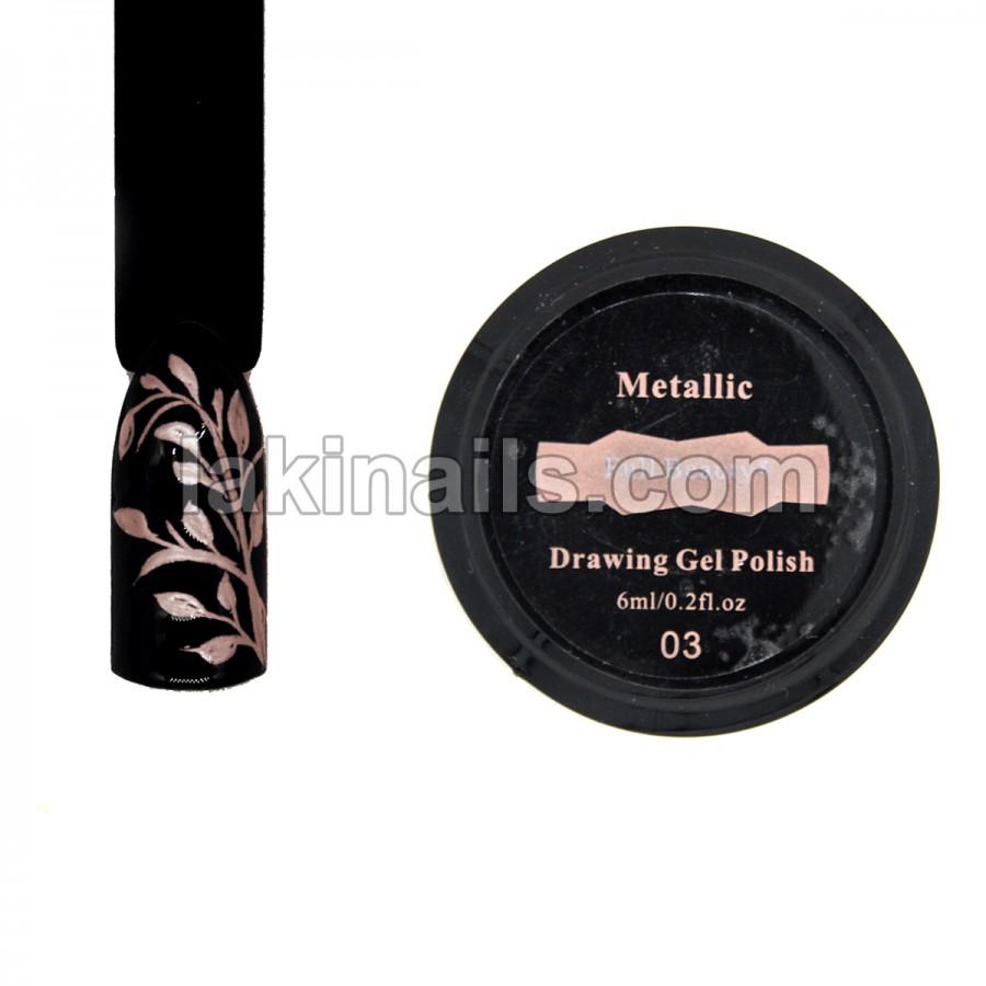 Рідкий метал Drawing Gel Polish, рожеве золото, 6 мл