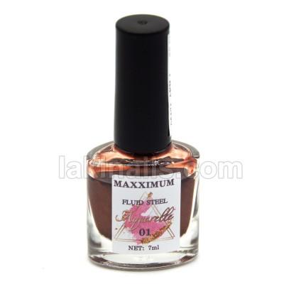 Акварельные капли хром MaXXimuM для дизайна ногтей, коричневые