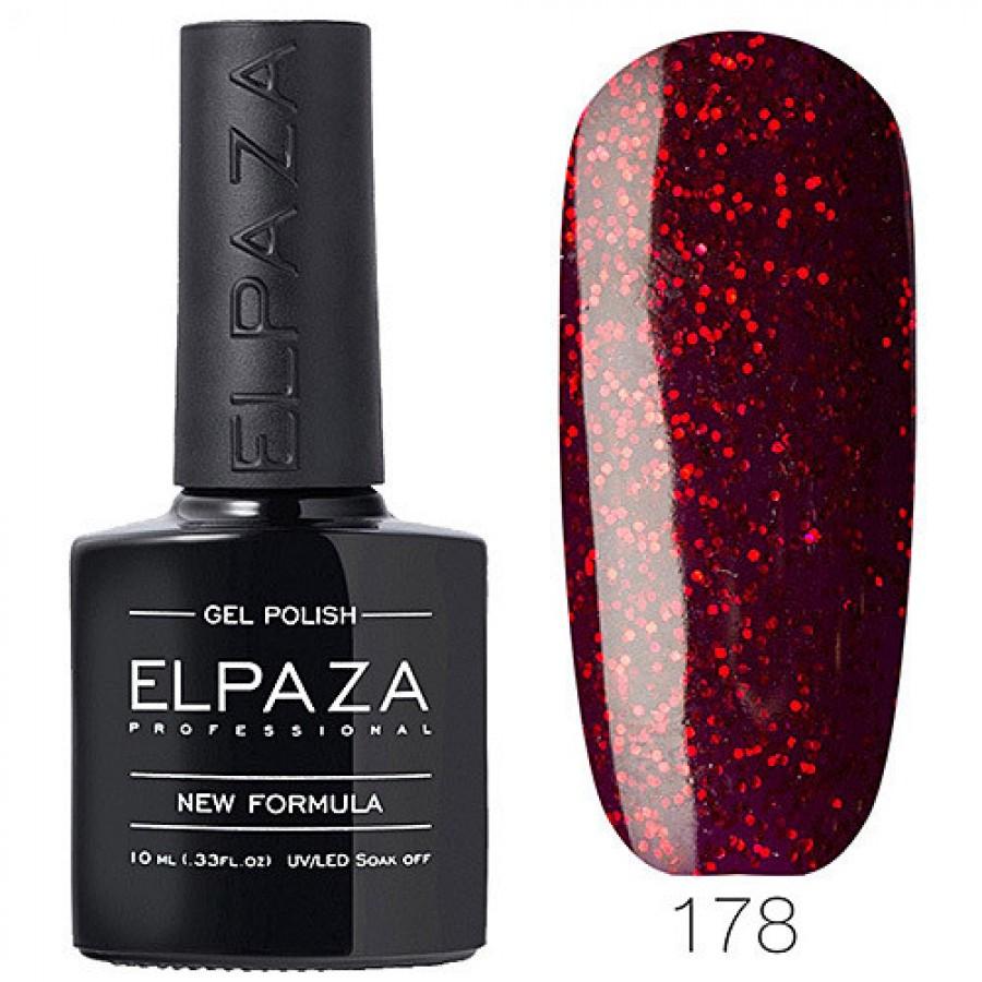 Гель-лак ELPAZA Classic №178 Феєрверк, червоний з червоними блискітками