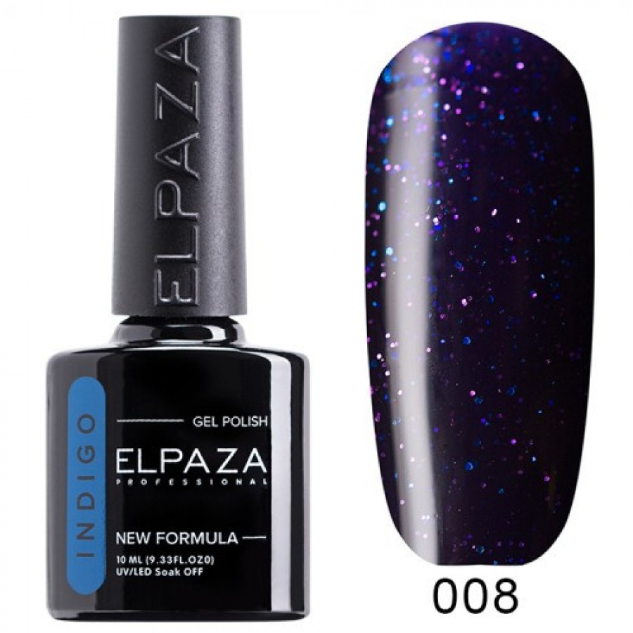 Гель-лак ELPAZA Indigo №008 Нібіру, cіне-фіолетовий з блискітками