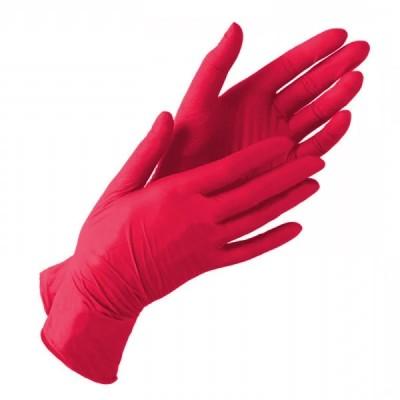Нитриловые перчатки размер S, красные, пара