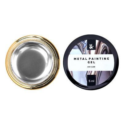 Металлическая гель-краска FOX Metal painting gel 01, серебро