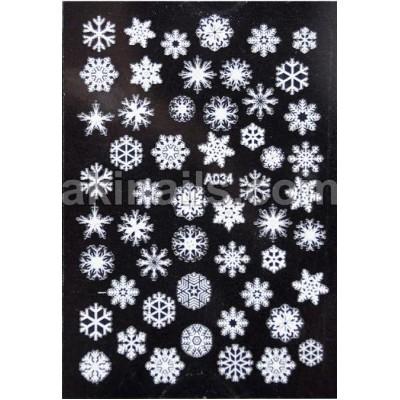 Силиконовые гибкие наклейки снежинки для дизайна ногтей A-034