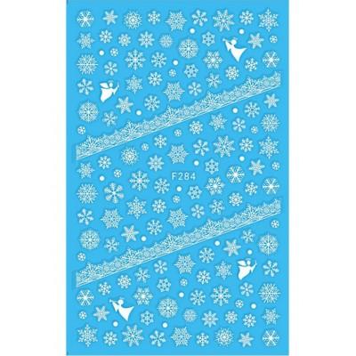 Силиконовые гибкие наклейки снежинки для дизайна ногтей F-284