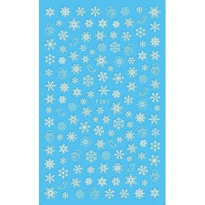 Силиконовые гибкие наклейки снежинки для дизайна ногтей F-281