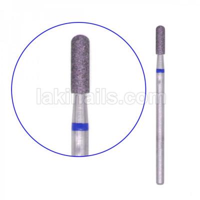 Алмазна насадка (бор) циліндр з півсферою, синій, 2 мм