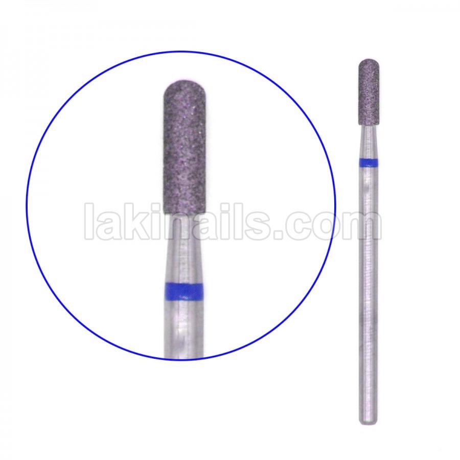 Алмазная насадка (бор) цилиндр с полусферой, синий, 2 мм
