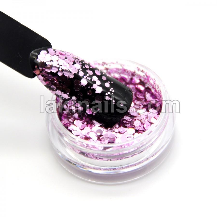 Брокат для дизайну нігтів (P-MIX03), рожевий