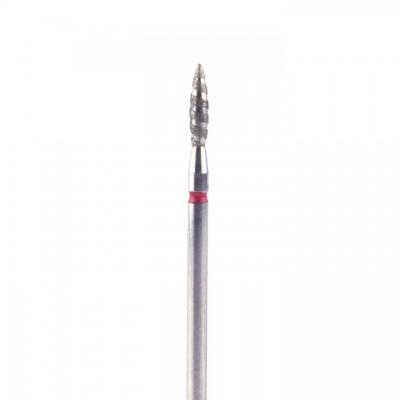 Алмазная насадка (бор) для фрезера пламя безопасное, торнадо, красный 2,1 мм