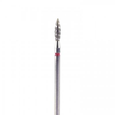 Алмазная насадка (бор) для фрезера пламя безопасное, торнадо, красный 2,3 мм