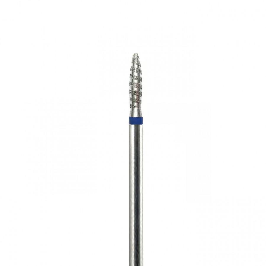 Алмазная насадка (бор) для фрезера пламя безопасное, торнадо, синий 2,3 мм
