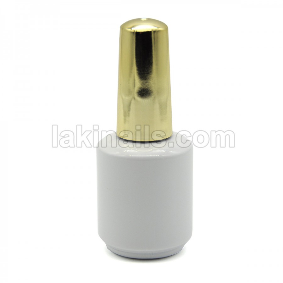Пляшка з пензликом, біла з золотим, 12 мл