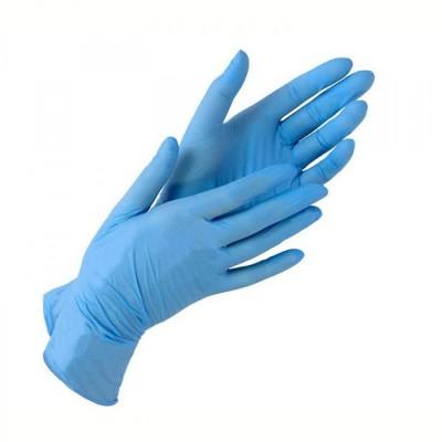 Голубые нитриловые перчатки KleenHand - S, упаковка 50пар