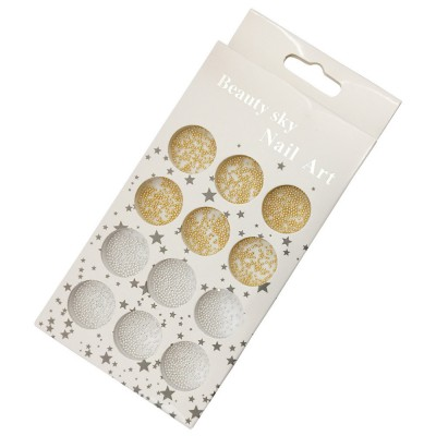Металлические бусинки (бульонки) для дизайна ногтей в контейнере