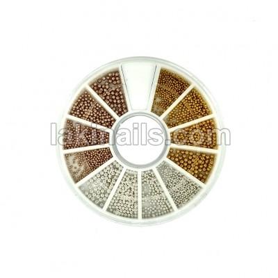 Металлические бусинки (бульонки) для дизайна ногтей, 3 цвета, 4 размера