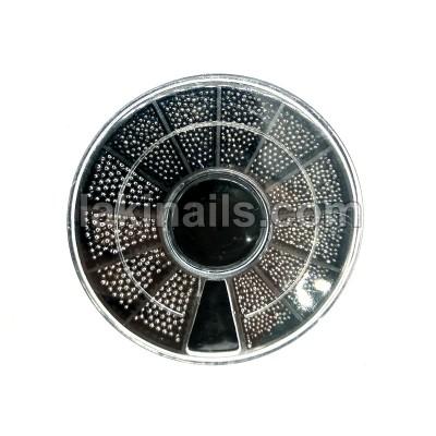 Металеві намистини (бульонкі) для дизайну нігтів, темне срібло, мікс розмірів