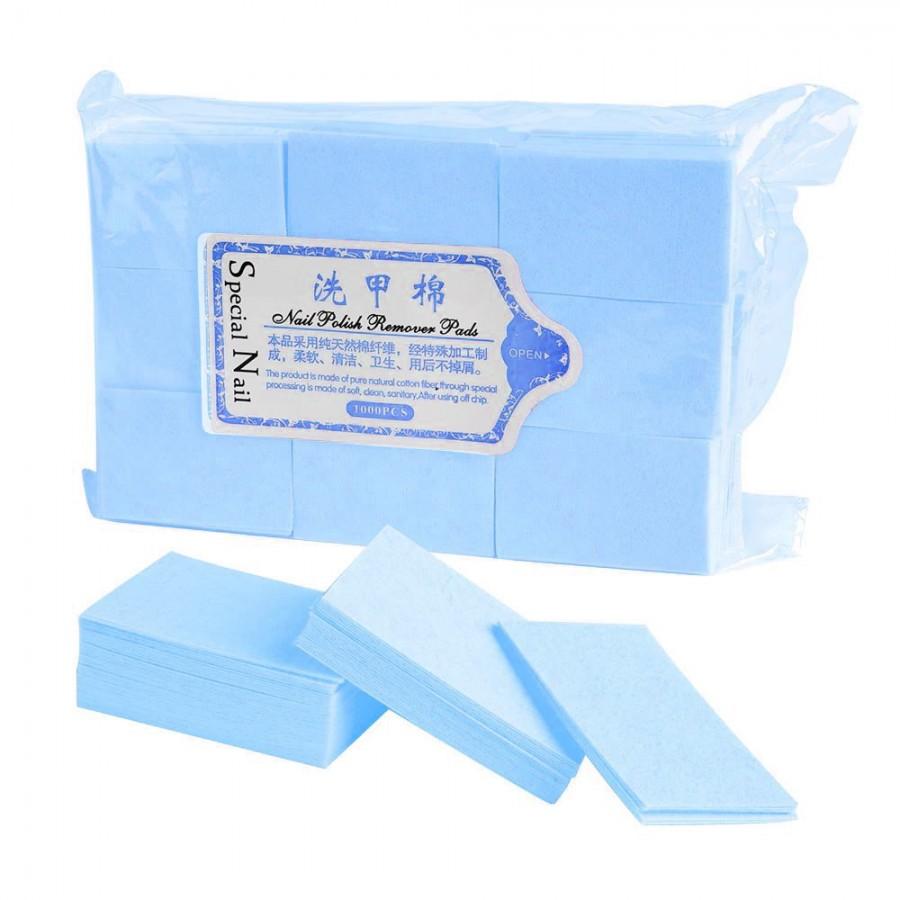 Безворсі серветки для манікюру, 900 шт, блакитні