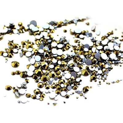 Стразы стекло бронза, для дизайна ногтей, аналог Сваровски, микс размеров SS3-SS30